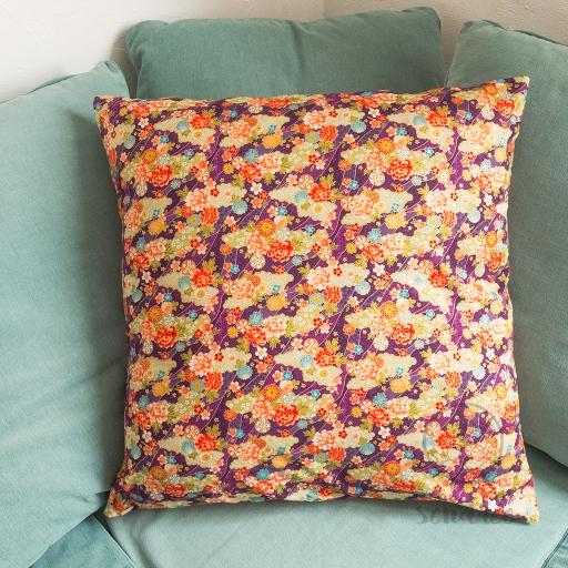 Taie d'oreiller rivière florale sendrée tissu japonais