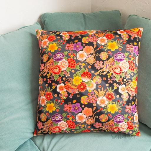 Taie d'oreiller floral noir sendrée tissu japonais
