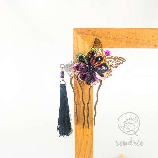 Peigne miss butterfly sendrée tissu japonais