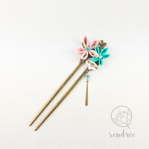 Double pic duo floral turquoise sendrée tsumami zaiku