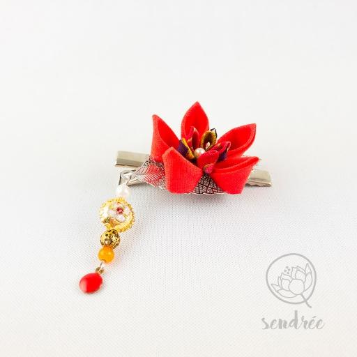 Pince croco fleur orange sendrée tsumami zaiku