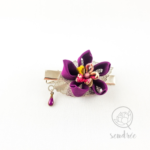 Pince croco purple flower sendrée tsumami zaiku