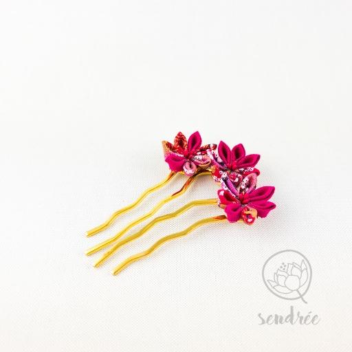 Mini peigne éclosion framboise sendrée tsumami zaiku