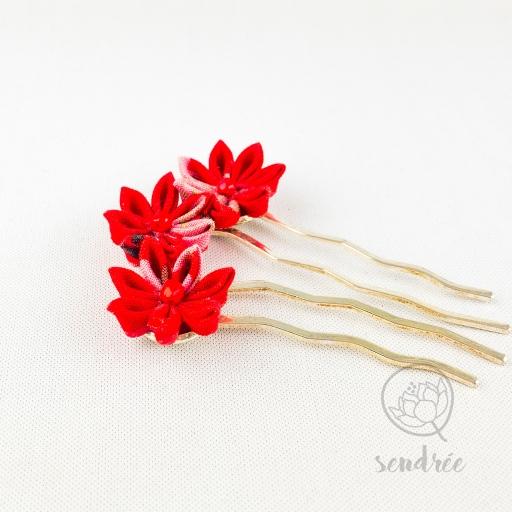 Mini peigne rouge flamboyant sendrée tsumami zaiku