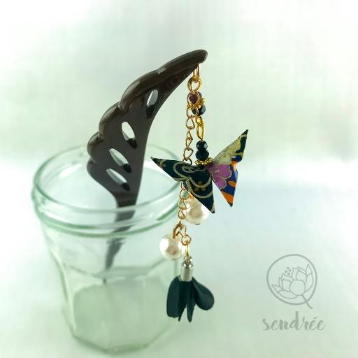 Pic moyen origami papillon noir sendrée papier japonais