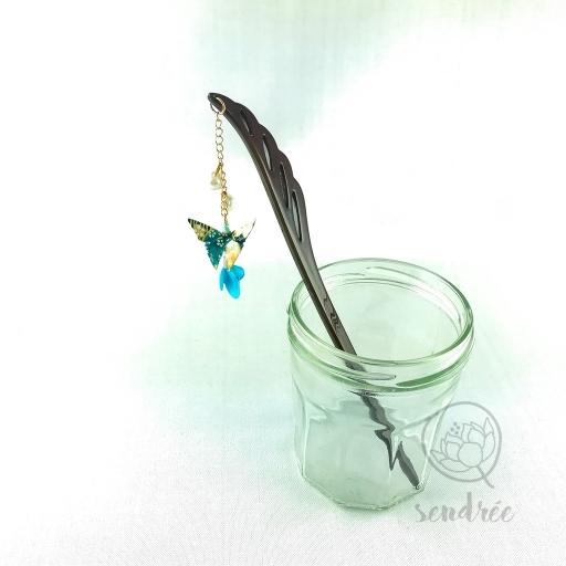 Pic moyen origami papillon grisbleu sendrée papier japonais