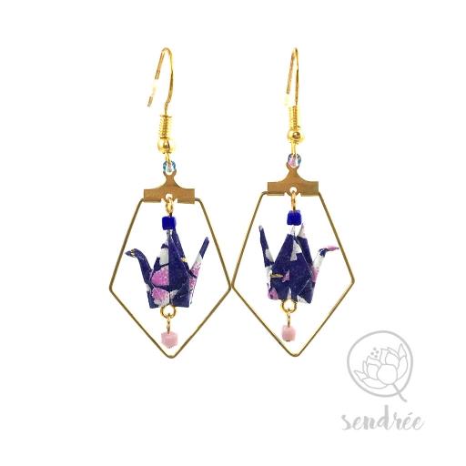 Boucles d'oreilles origami grue violet et lilas Sendrée en papier japonais washi