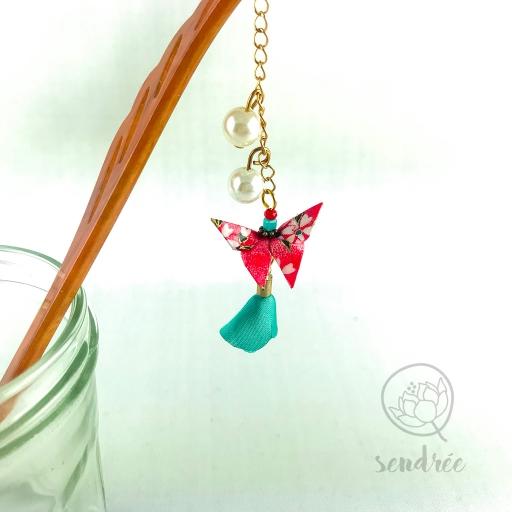 Pic moyen origami papillon pink sendrée papier japonais