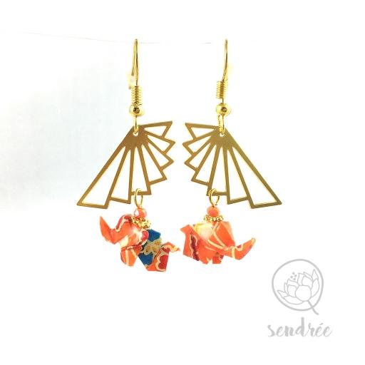 Boucles d'oreilles origami éléphant orange Sendrée en papier japonais washi