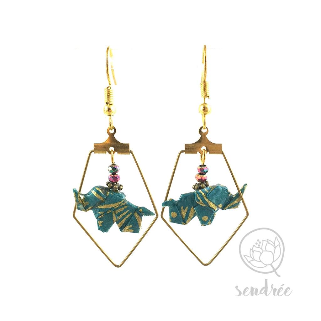 Boucles d'oreilles origami éléphant vert canard et doré Sendrée en papier japonais washi