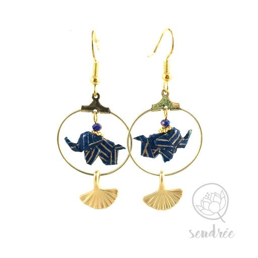 Boucles d'oreilles origami éléphant bleu or vague Sendrée en papier japonais washi