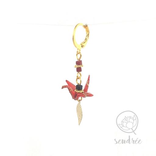 Boucles d'oreilles origami grue rouge et or Sendrée en papier japonais washi