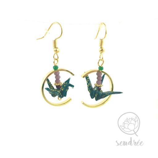 Boucles d'oreilles origami grue vert canard et or Sendrée en papier japonais washi