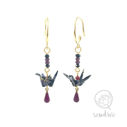 Boucles d'oreilles origami grue violet Sendrée en papier japonais washi
