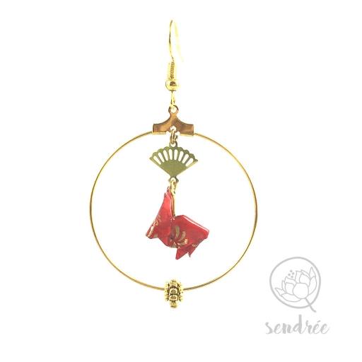 Boucles d'oreilles origami lapin rouge et or Sendrée en papier japonais washi