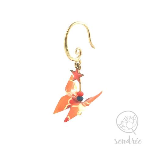 Boucles d'oreilles origami papillon orange et bleu Sendrée en papier japonais washi