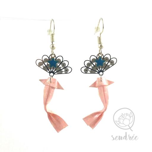 Boucles d'oreilles origami carpe roses Sendrée en papier japonais washi