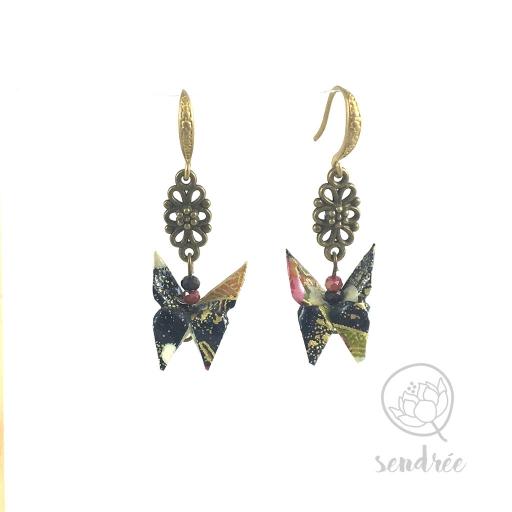 Boucles d'oreilles origami papillon violine Sendrée en papier japonais washi