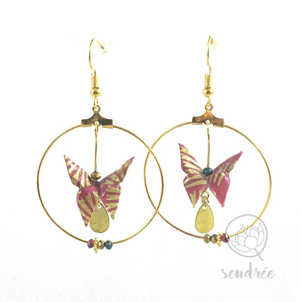 Boucles d'oreilles origami papillon rose et or Sendrée en papier japonais washi