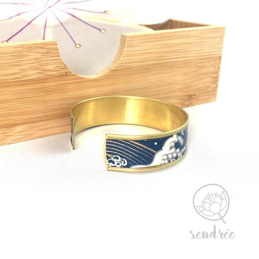 Bracelet jonc washi vague bleue et or Sendrée papier japonais