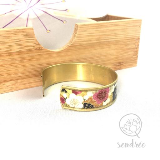 Bracelet manchette washi prunier violine et or Sendrée papier japonais