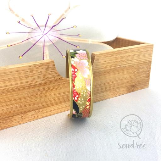 Bracelet washi bleu marine et rose Sendrée papier japonais