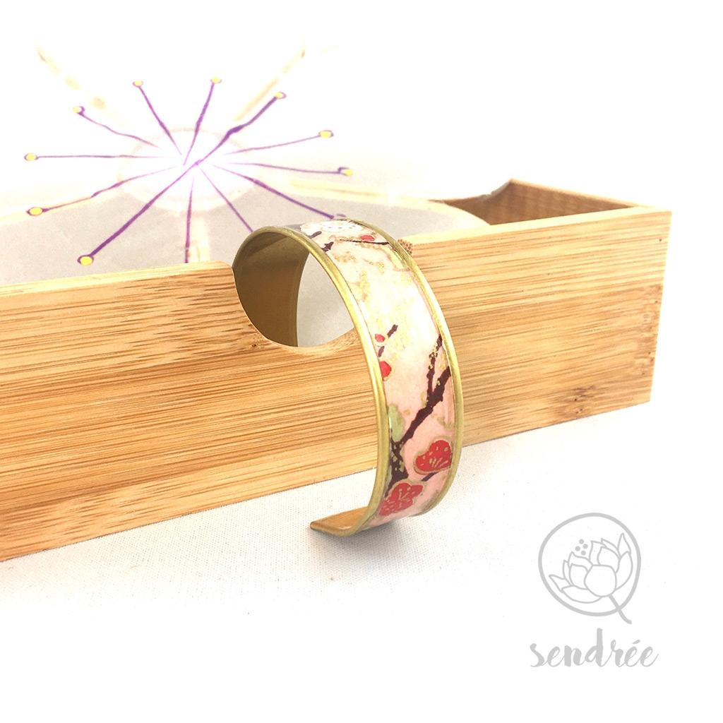 Bracelet washi prunier rose Sendrée papier japonais