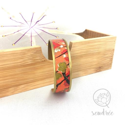Bracelet washi prunier orange Sendrée papier japonais