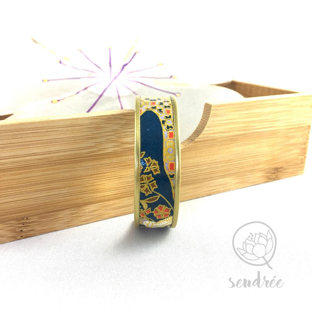 Bracelet washi rivière bleue Sendrée papier japonais