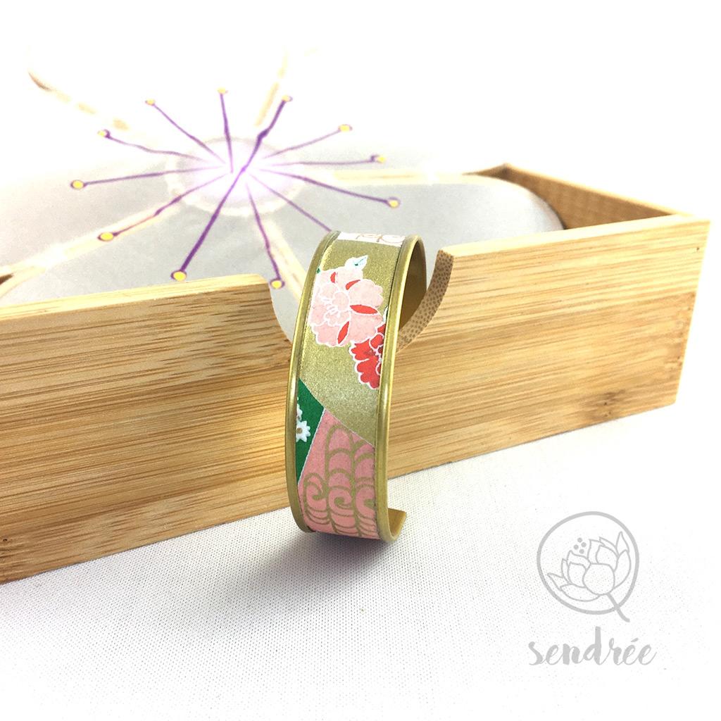 Bracelet washi floral corail et or Sendrée papier japonais