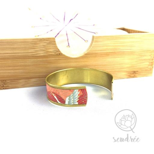 Bracelet washi grues rouge Sendrée papier japonais