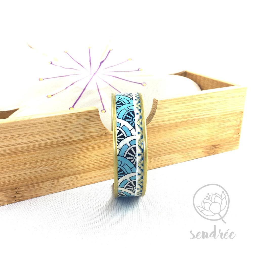 Bracelet washi géométrie bleue Sendrée papier japonais
