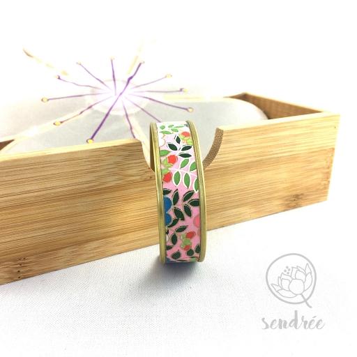 Bracelet washi floral rose Sendrée papier japonais