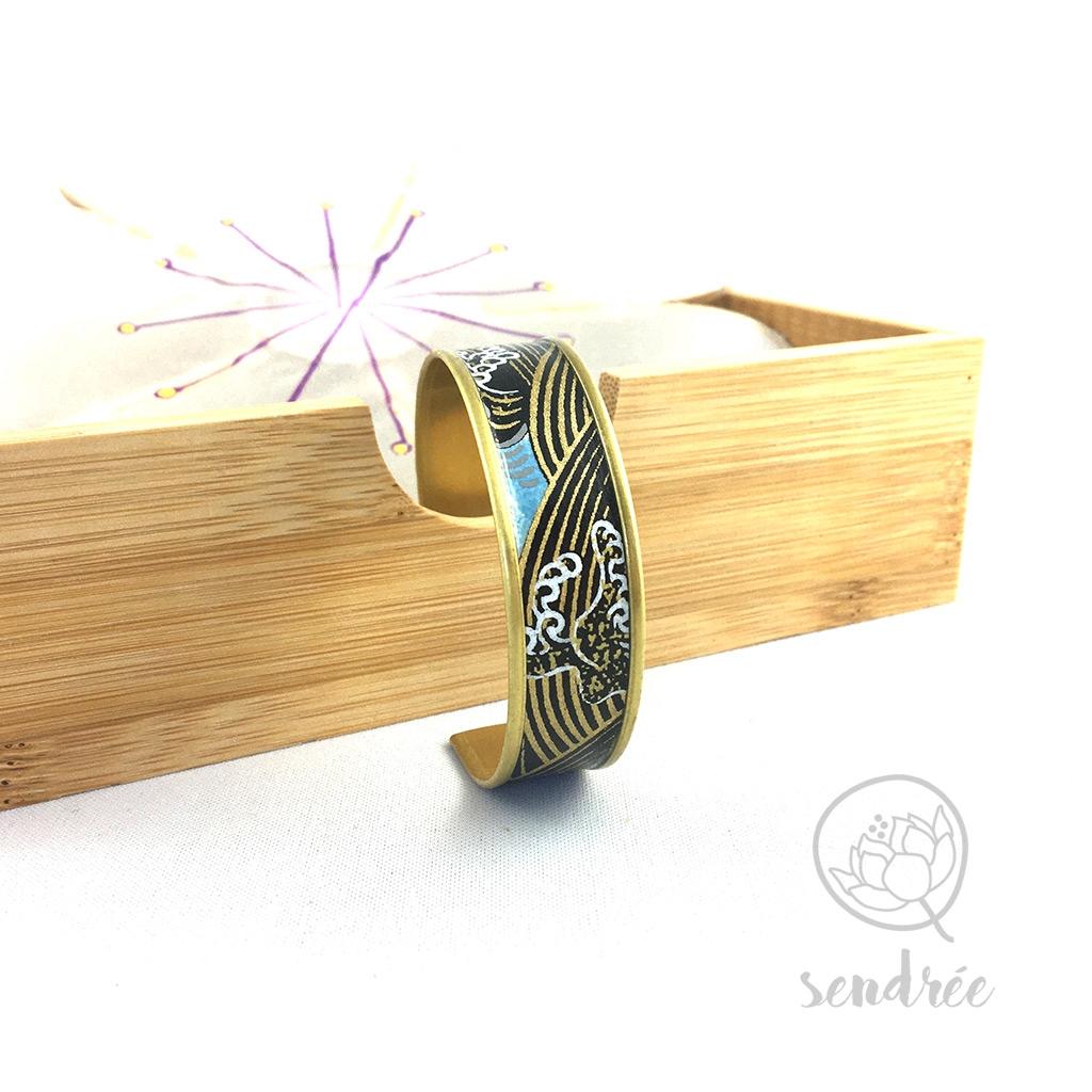 Bracelet washi vague noire et or Sendrée papier japonais