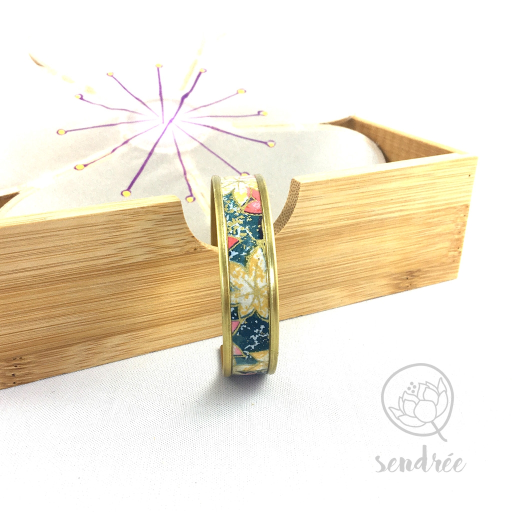 Bracelet washi momiji bleu Sendrée papier japonais