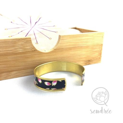 Bracelet washi cerisier violine Sendrée papier japonais