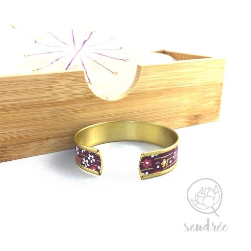 Bracelet washi floral violet et or Sendrée papier japonais