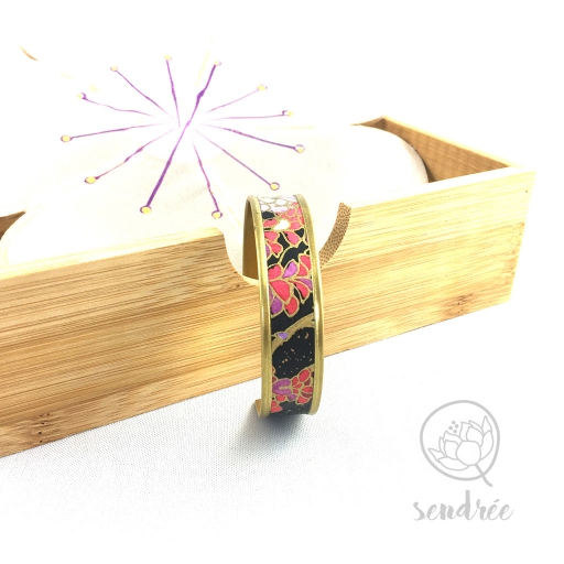 Bracelet washi glycine noire Sendrée papier japonais