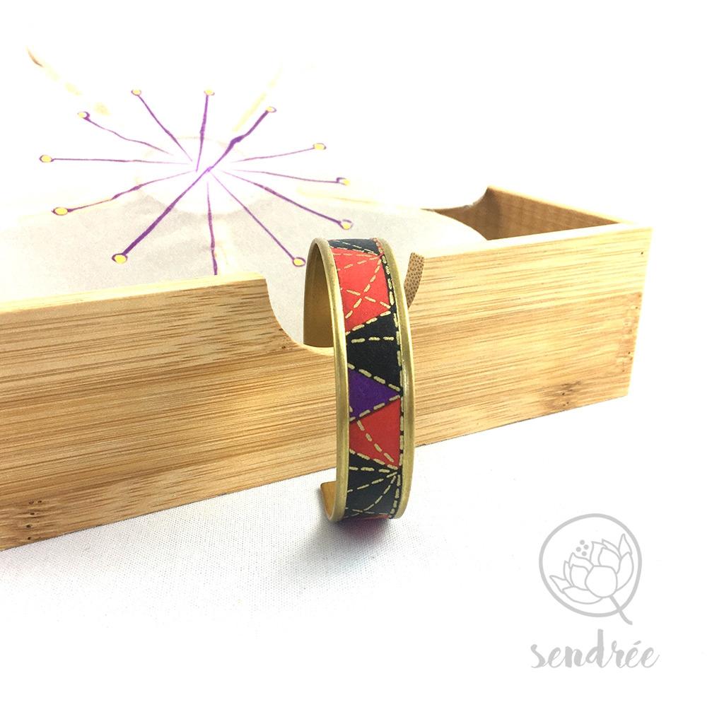 Bracelet washi géométrie noire Sendrée papier japonais