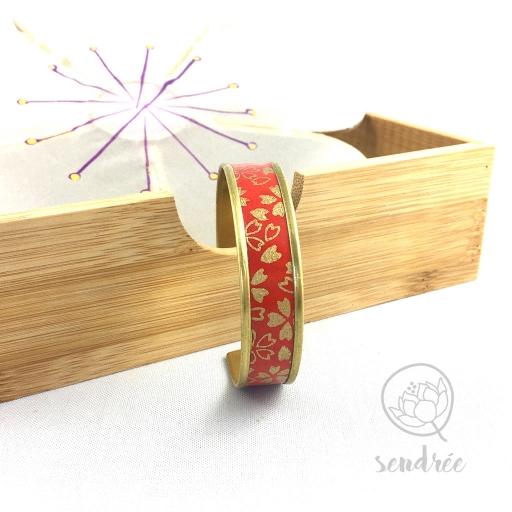 Bracelet washi cerisier rouge et or Sendrée papier japonais