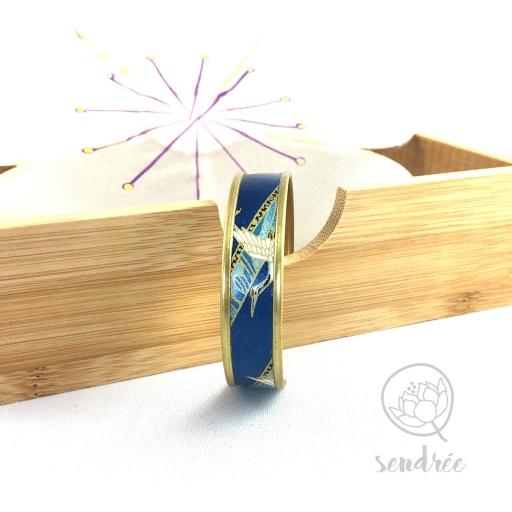 Bracelet washi grues bleues et or Sendrée papier japonais
