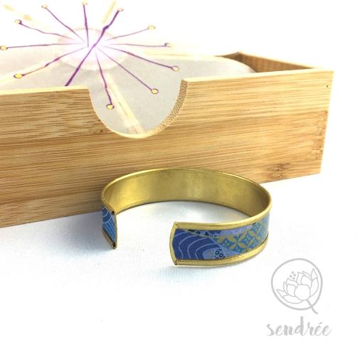 Bracelet washi montagnes bleues et or Sendrée papier japonais