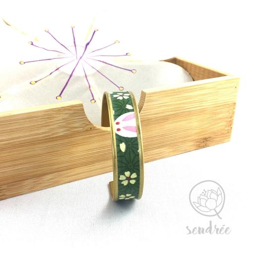 Bracelet washi lapin vert Sendrée papier japonais
