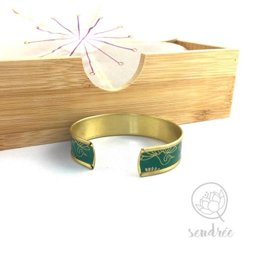 Bracelet washi phénix vert et or Sendrée papier japonais