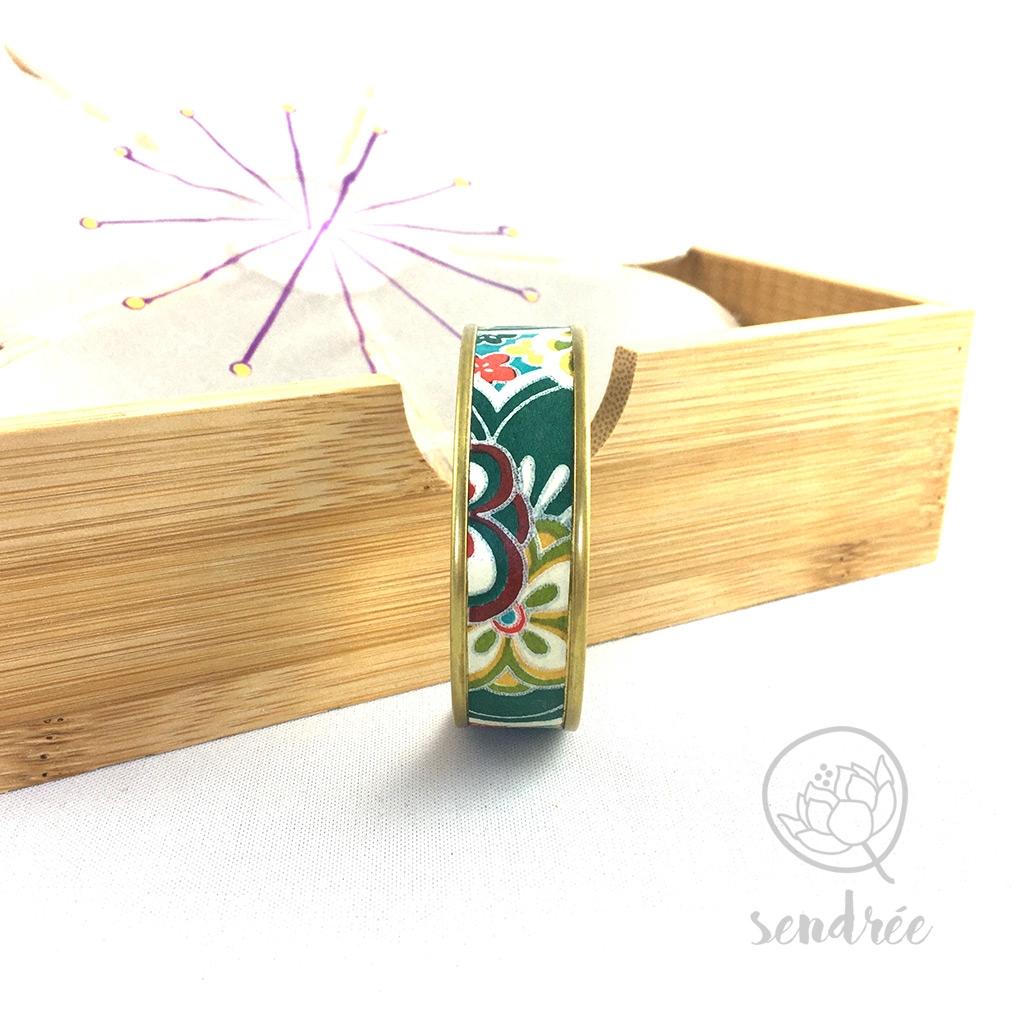 Bracelet washi fleurs vertes Sendrée papier japonais