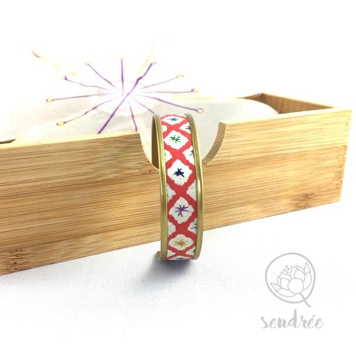 Bracelet washi géométrie rouge Sendrée papier japonais