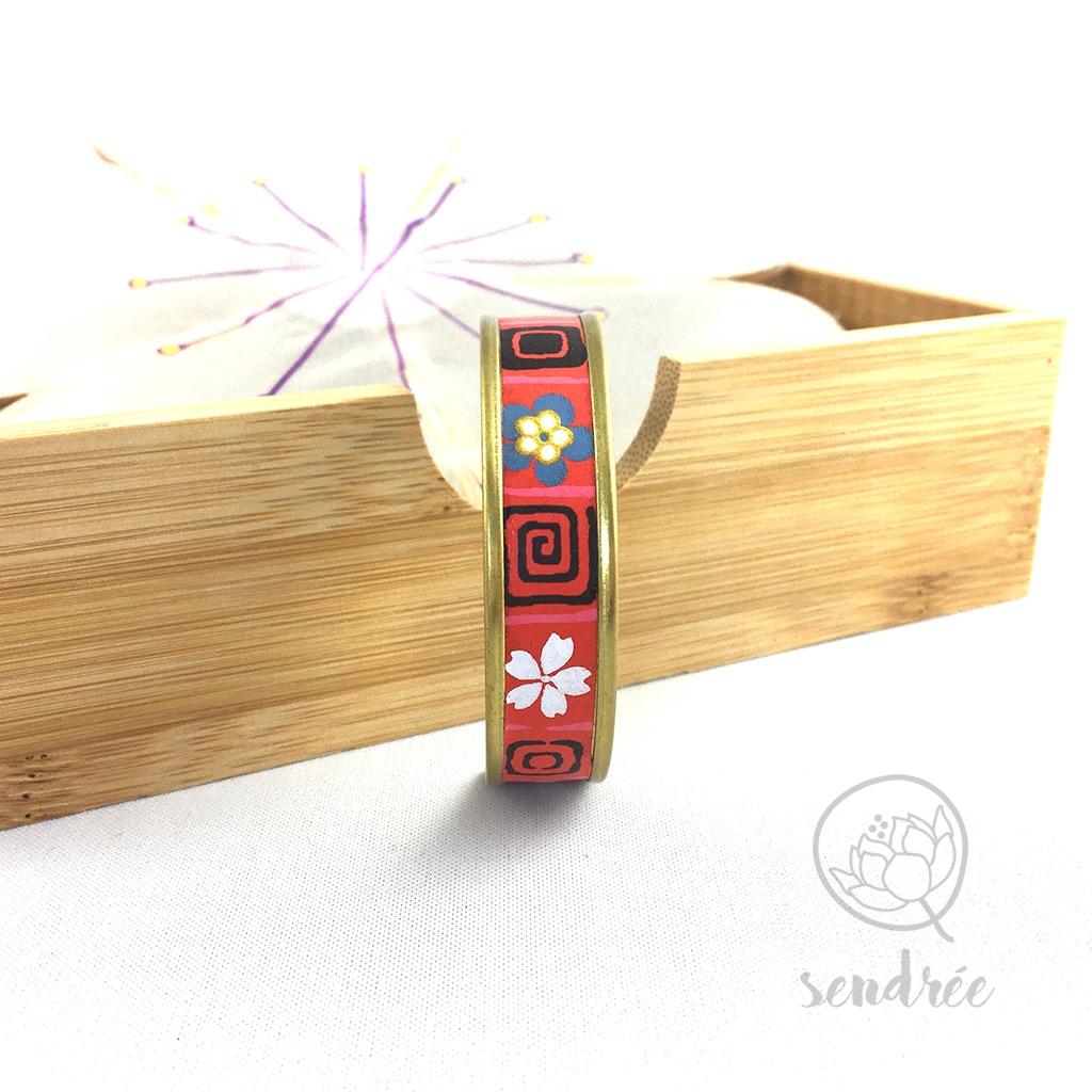 Bracelet washi fleur et carré rouge Sendrée papier japonais
