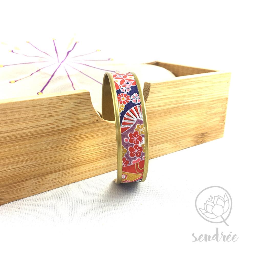 Bracelet washi japon rouge Sendrée papier japonais