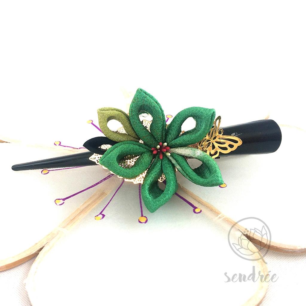 Grande pince pour cheveux ornée d'une fleur Sendrée papier japonais