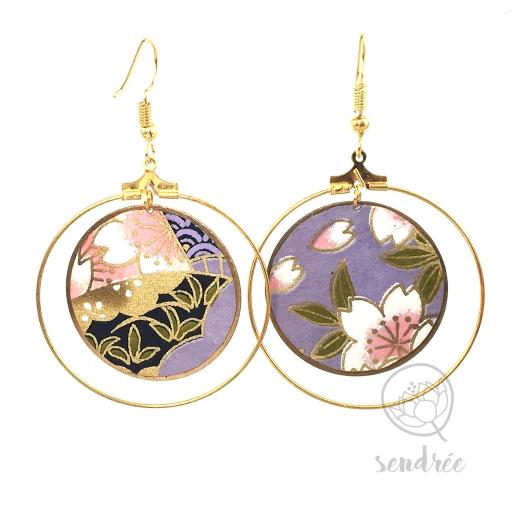 Créoles washi sakura violet Sendrée papier japonais